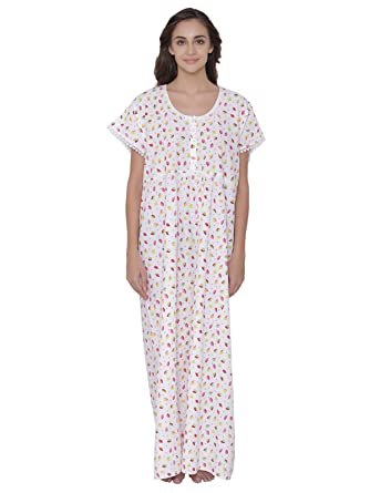5ceb28daa3 Clovia Women s Cotton Floral Print Long Nighty  Amazon.in  Clothing ...