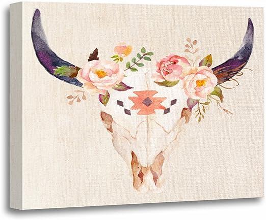 Amazon Com Torass Canvas Wall Art Print Boho Bull Head Skull Flowers Watercolor Floral Artwork For Home Decor 12 X 16 Posters Prints
