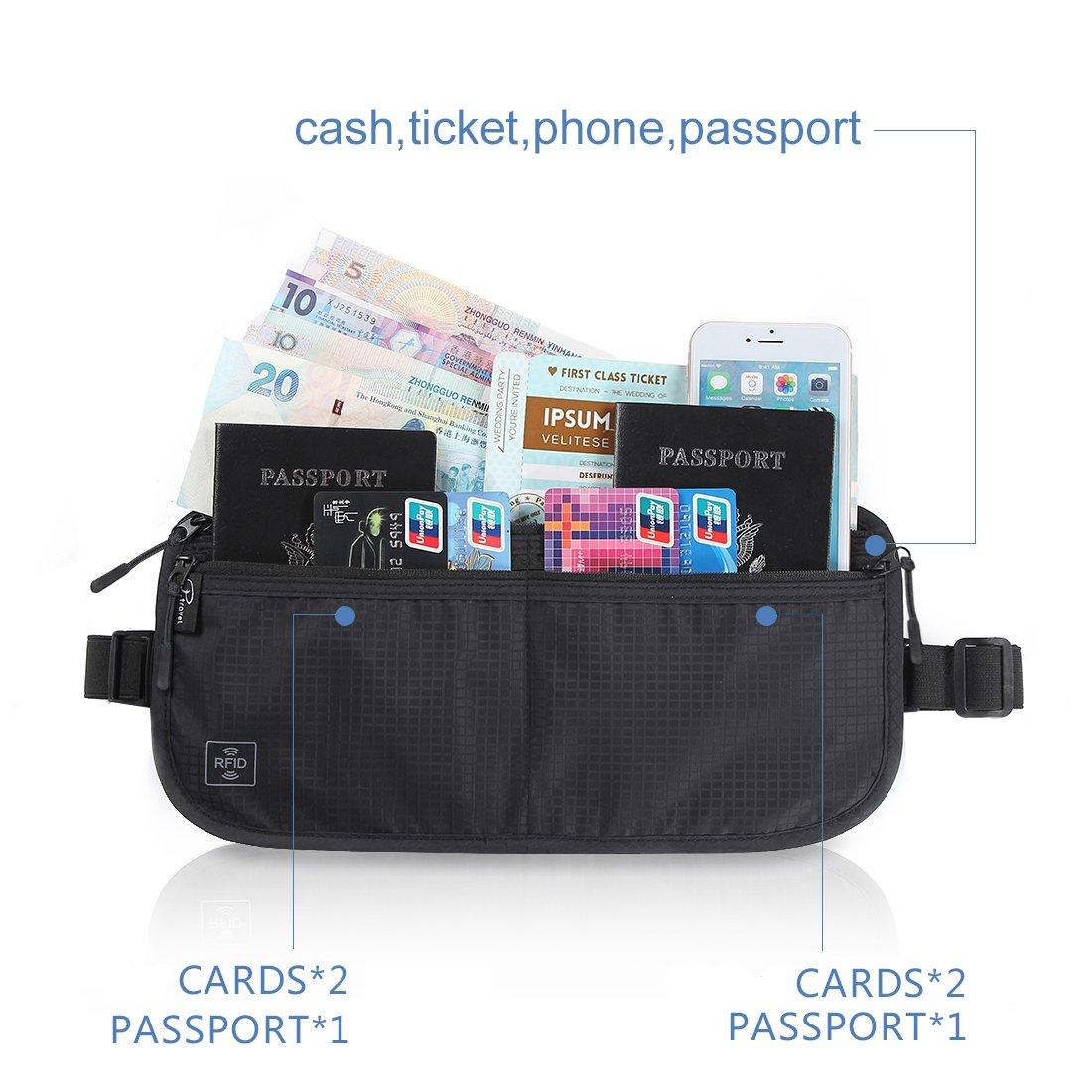 Tuscall Ceinture de Voyage RFID-Blocage - Pochette de Voyage Passeport,  Papiers, Clés   Téléphone  Amazon.fr  Bagages 732afc230fc