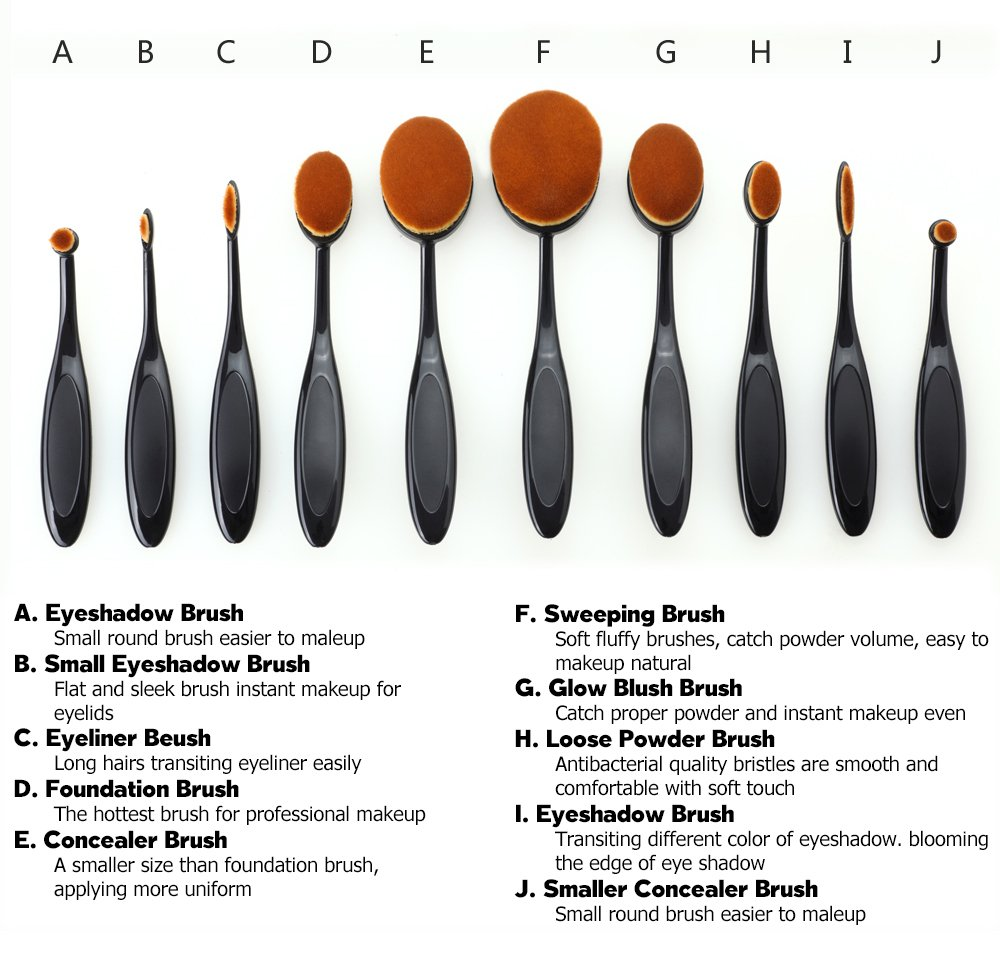 oval makeup brushes anastasia. amazon.com : vivii 10-piece professional oval toothbrush makeup brush set with box beauty brushes anastasia