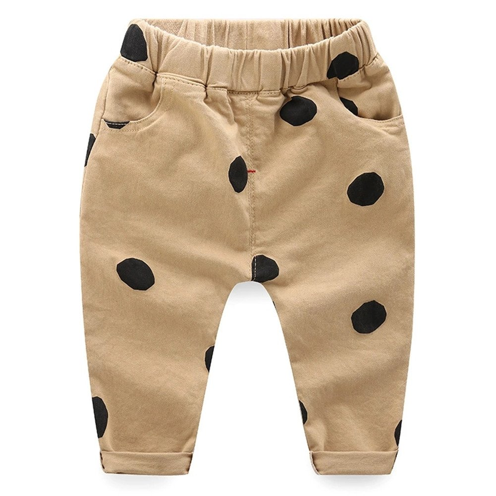 Oushiny Unisex Kids Cute Dots Cotton Pants 2 Colors for 0-6