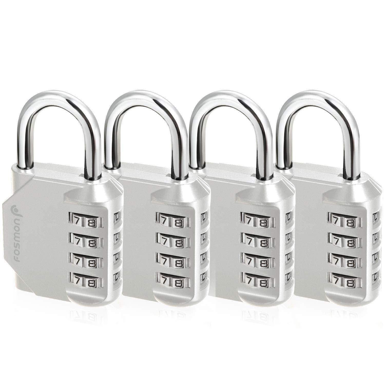 フォスモンコンビネーションロック(4パック)4桁コンビネーション南京錠、学校用ジムボディ、ジムロッカー、ゲート、バイクロック、掛け金、収納 - シルバー   B07Q88ZZF2