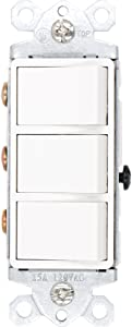Baomain Triple Switch SW1506-2 15 Amp, 120/277 Volt, Single-Pole, AC Combination Switch, Commercial Grade, Grounded, White