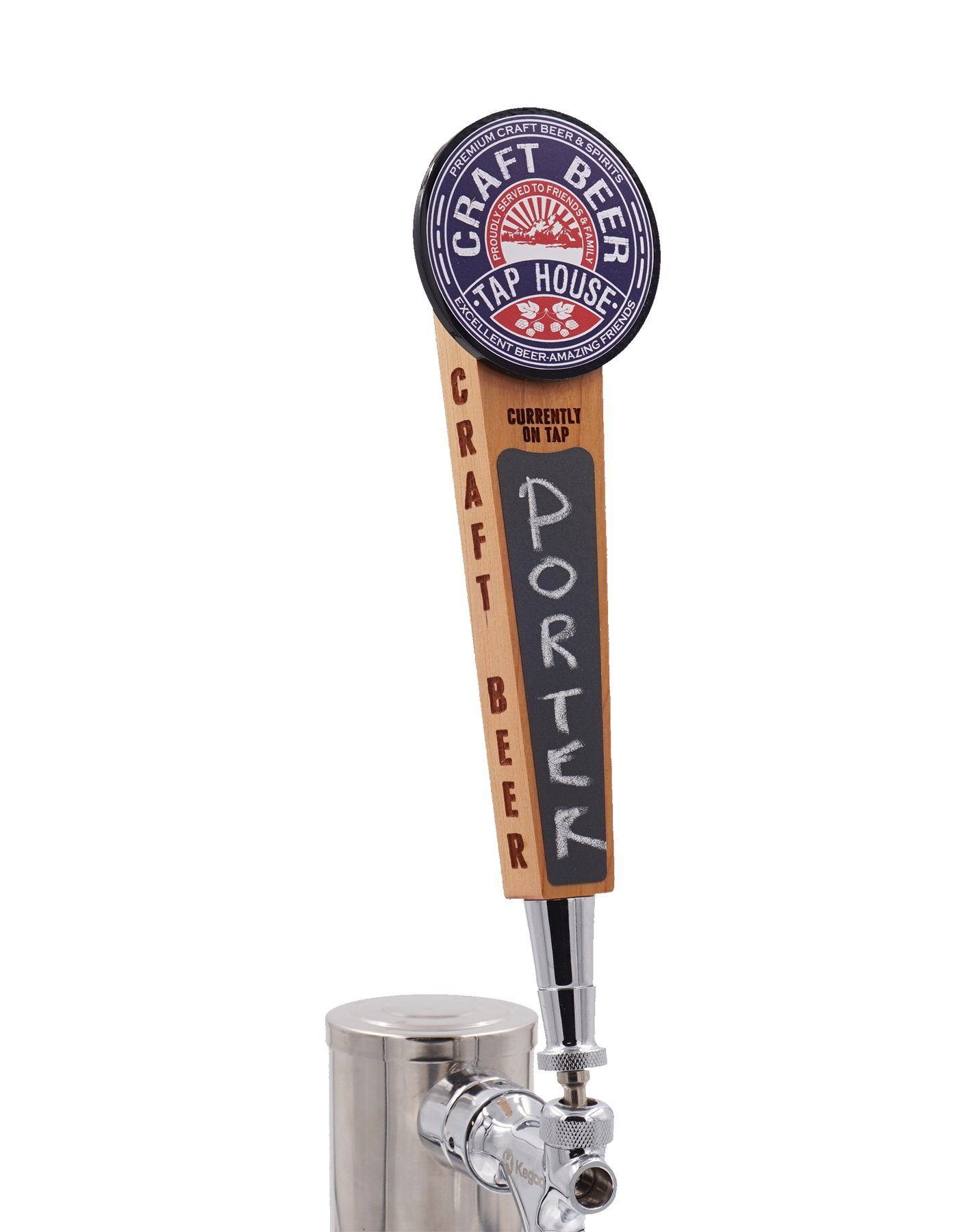 Beer Tap Handle with Chalkboard-Outdoor edition. Cool wood tap with laser engraved sides and full color logo.