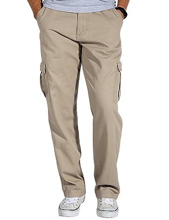 4598a1a62d Match Men's Loose-Fit Straight Stretch Twill Cargo Pants (29, 6039 Light  Khaki