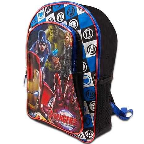 182a2b314f Amazon.com | Marvel Avengers Backpack for Boys Kids, Black/Blue, 16x12x5 (School  Supplies) | Kids' Backpacks