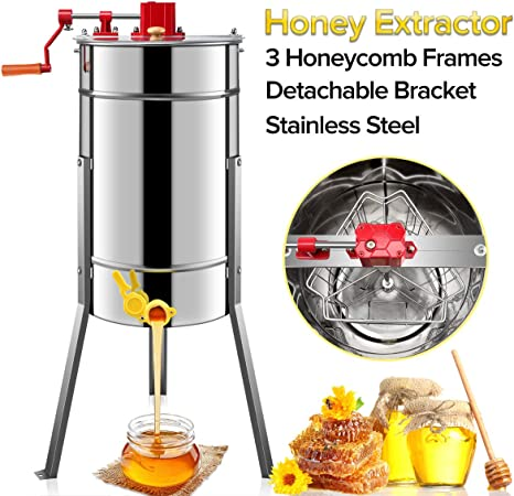 Honigschleuder manual 4 panal de miel de acero inoxidable Honey extractor apicultor tiragomas