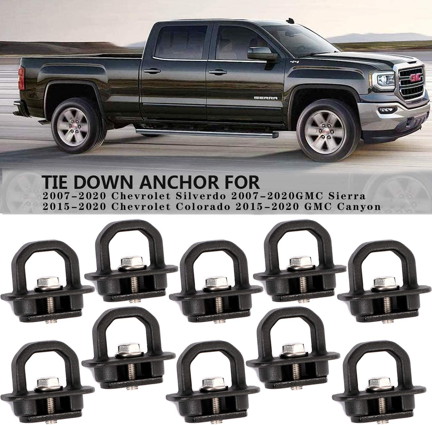 USTAR 10-Pack Truck Bed Side Wall Anchor Pickup Tie Downs Anchors Compatible with Chevy Silverdo Sierra 2007-2018,Colorado Canyon 2015-2018