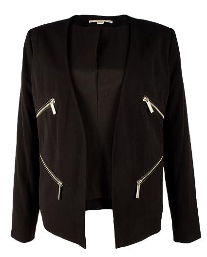 7fecfd51e000 MICHAEL Michael Kors Womens Faux Leather Trim Open-Front Blazer Black 2
