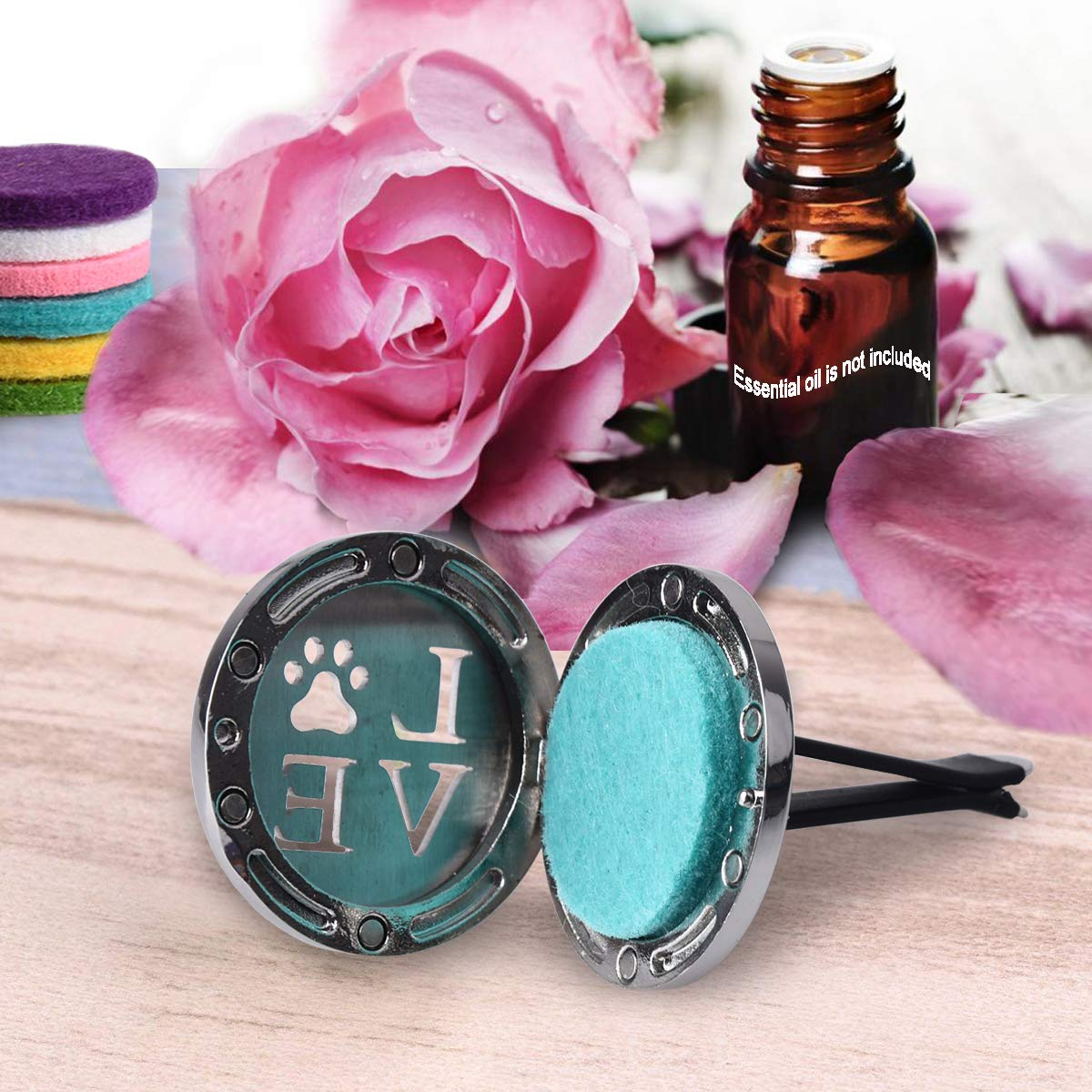 CHIDRA Flower of Life Car Essential Oil Diffuser,1.2 Aromatherapy Essential Oil Vent Clip,Fragrance Locket-Waterless /& Wireless