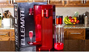 Ellemate ICGBRE200 Iconic Soda Infuser Carbonation Maker Seltzer Beverage Machine with CO2 Cylinder and 1 Reusable Bottle, Red