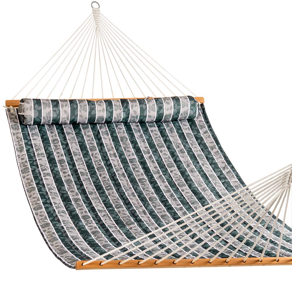Lazy Daze Hammocks Quilted Fabric Double Size Spreader Bar Heavy Duty Stylish Hammock Swing Pillow Two Person, Green Leaves
