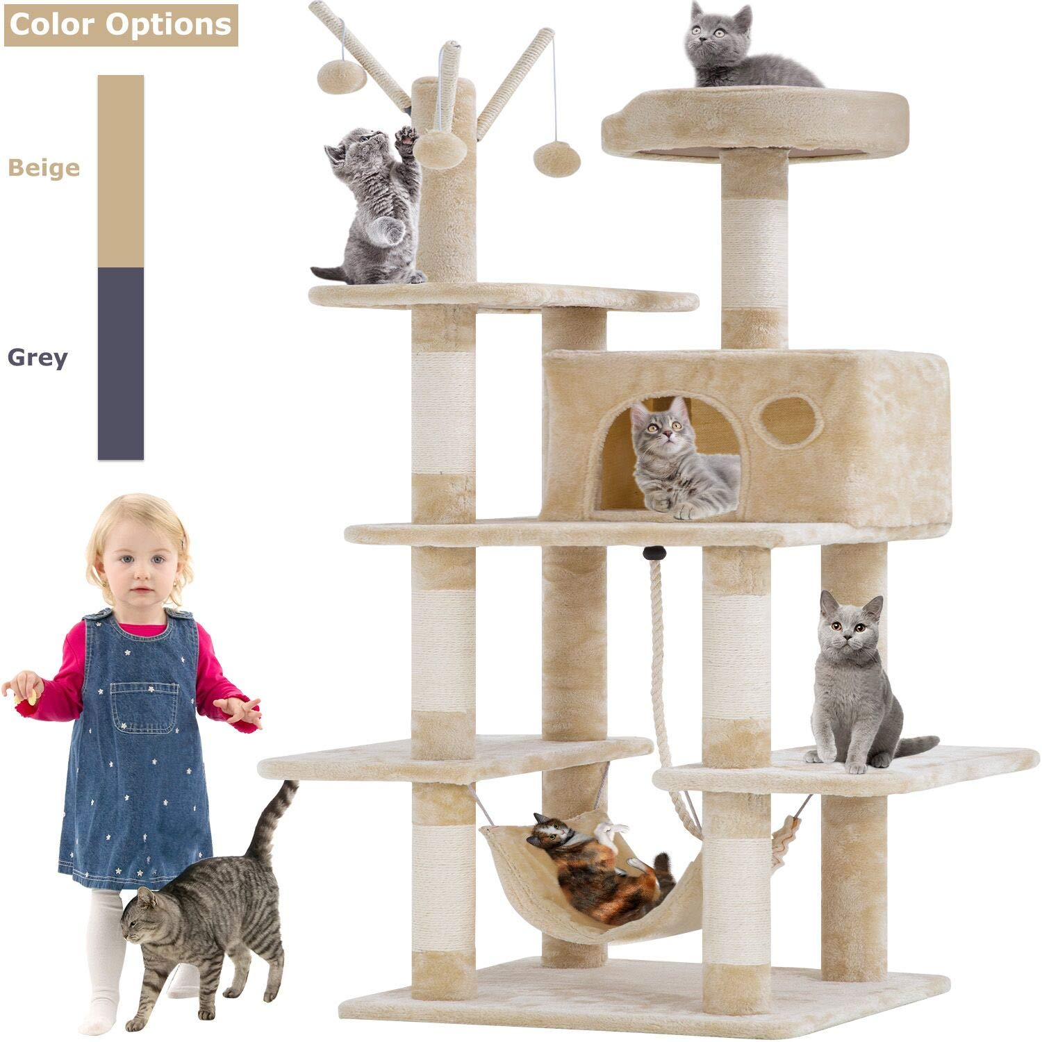 BestPet Cat Tree Tower Condo Playground Cage Kitten Multi-Level 56 inches Activity Center Play House Medium Scratching Post Furniture Plush Perches with Hammock,Beige by BestPet