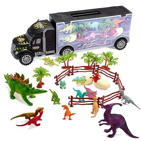 Amazon Com Tuko Car Toys Die Cast Dinosaurs Transport Carrier Truck