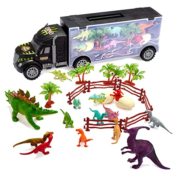 Tuko Dinosaur Car Toys Big Diecast Carrier Truck Playset Jurassic World Dino Toys for 3-12 Years Old Boy Girl