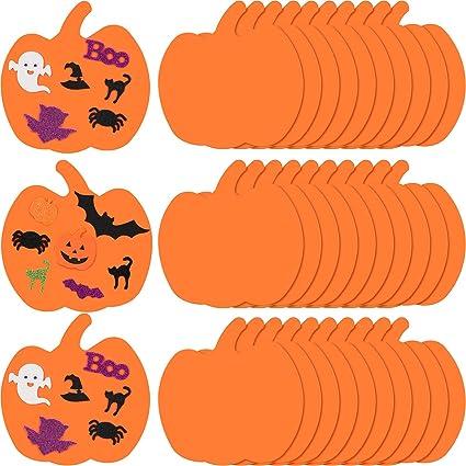 36 Pieces 7.5 Inches Large Halloween Foam Pumpkins Foam Crafts Supplies Decorative Pumpkin Shaped Stickers for Halloween DIY Art Craft Not Self-Adhesive