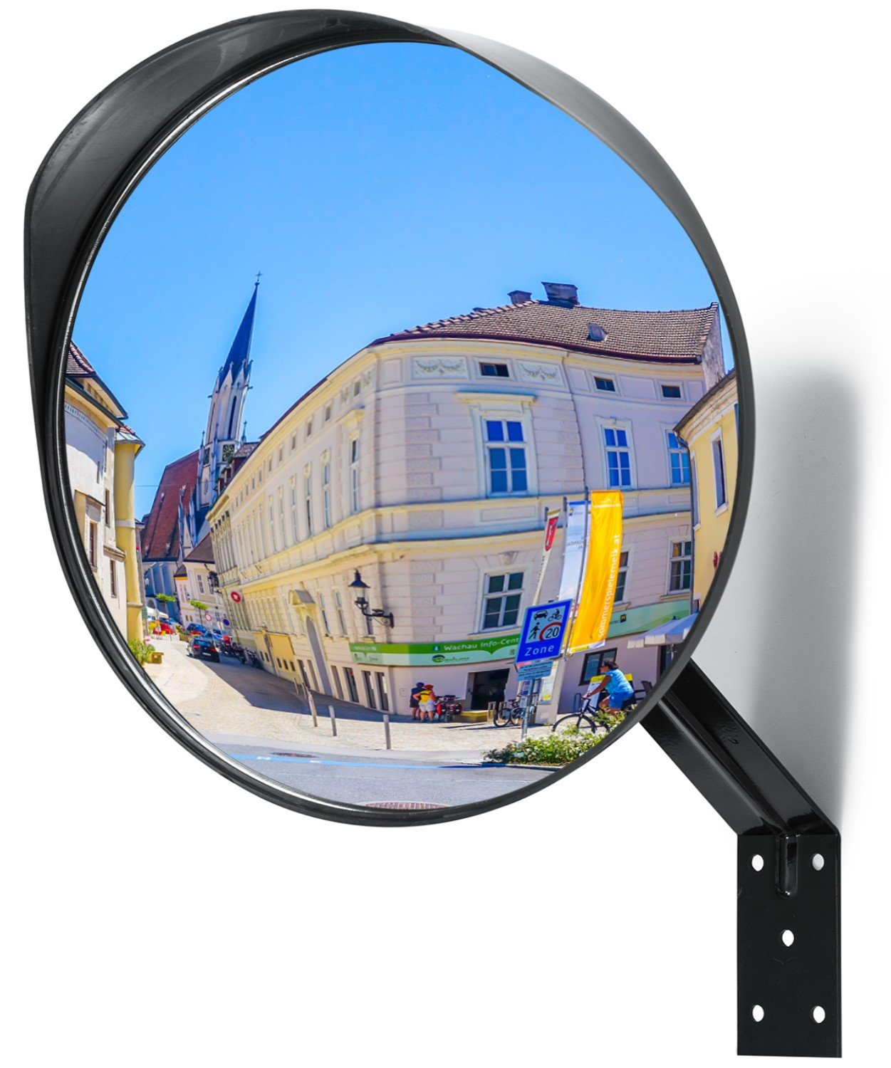 "Adjustable Convex Mirror - Clear View Garage and Driveway Park Assistant - 12"" Curved Security Mirror Extends Your Field of View to Increase Safety"