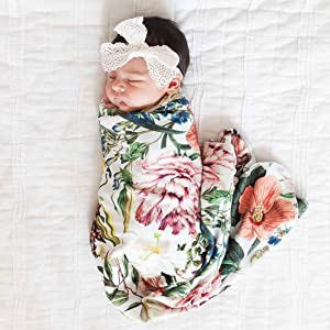 Giggle Angel Newborn Receiving Blanket Swaddle Blanket Baby Snug Wrap -Botanical Garden Floral Pattern (Headband is not Included)