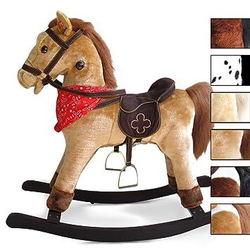 Infantastic cheval à bascule en bois et peluche à effets sonores couleur au choix