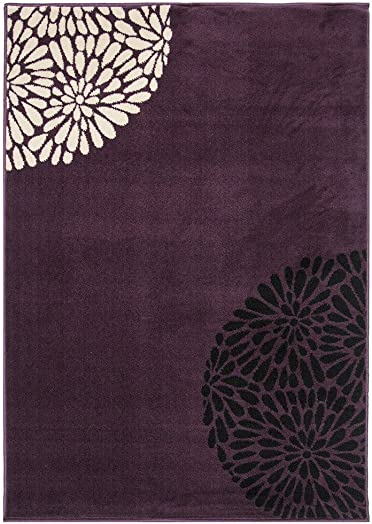 Plain Black Purple Violet Eggplant and Cream Ivory Simple Modern Floral Print Design Area Accent Rug