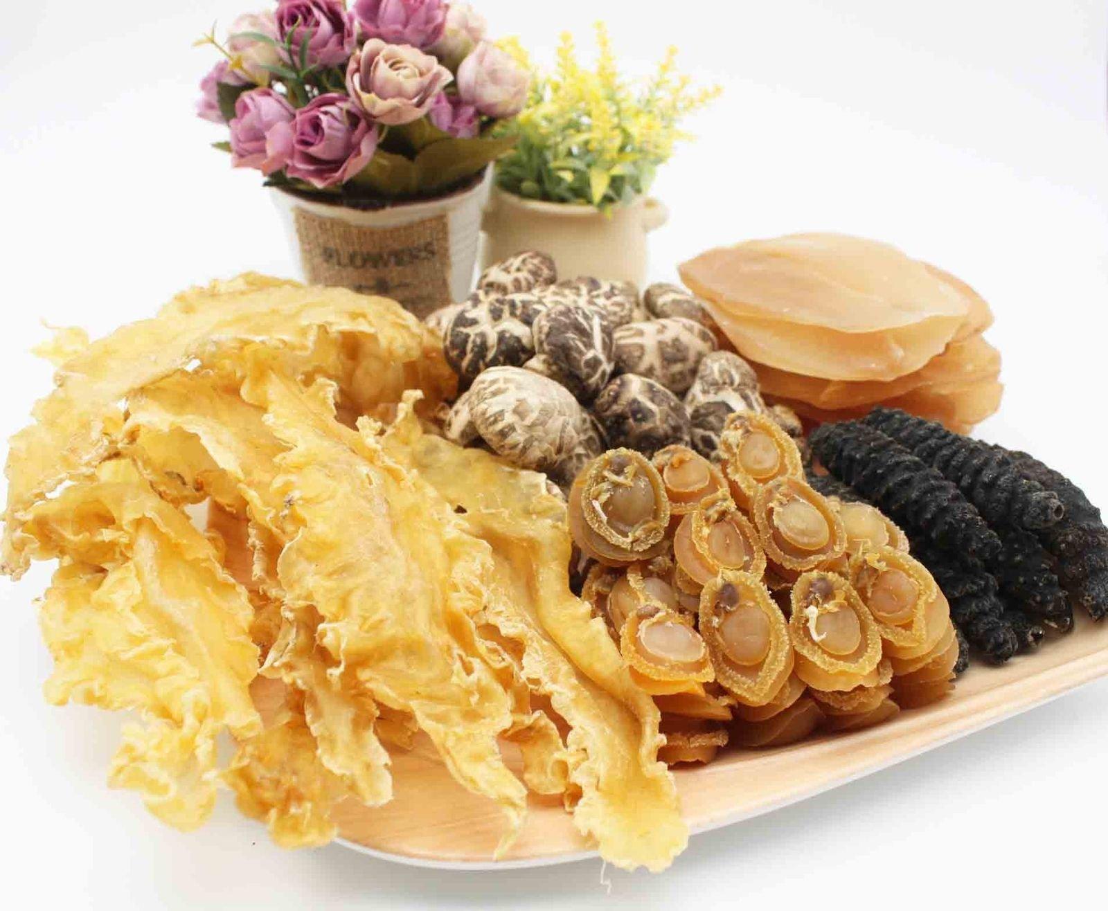 China Good Food Set-35 Dried Fish Maw x Dalian Abalones x Sea Cucumbers x Mushroom x Conch Slice