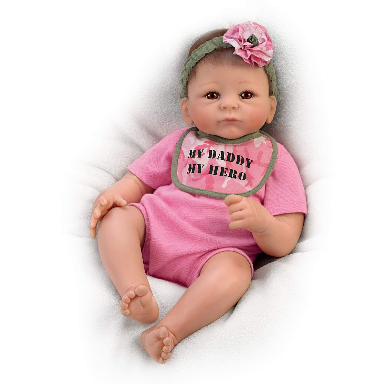 The Ashton-Drake Galleries Tasha Edenholm My Daddy My Hero Lifelike Baby Doll with Camo Bib: Ashton-Drake