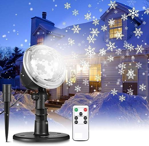 Navidad luces del proyector, nevadas luces LED del copo de nieve ...