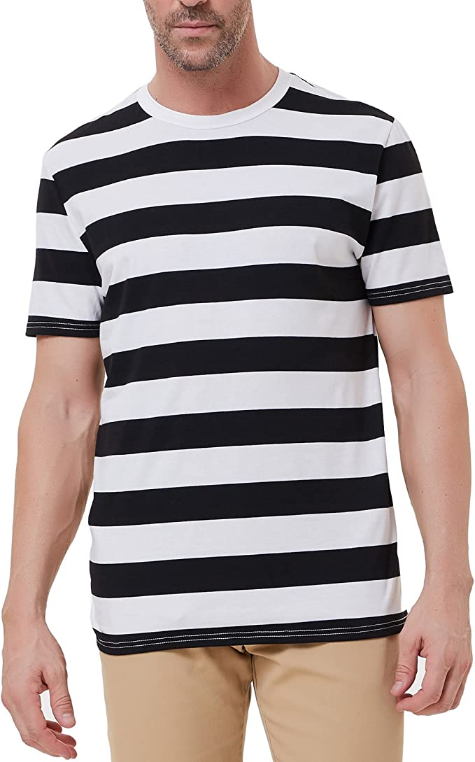 Mens Vintage Shirts – Casual, Dress, T-shirts, Polos PJ Mens Crewneck Short Sleeve Striped T-Shirt $18.99 AT vintagedancer.com