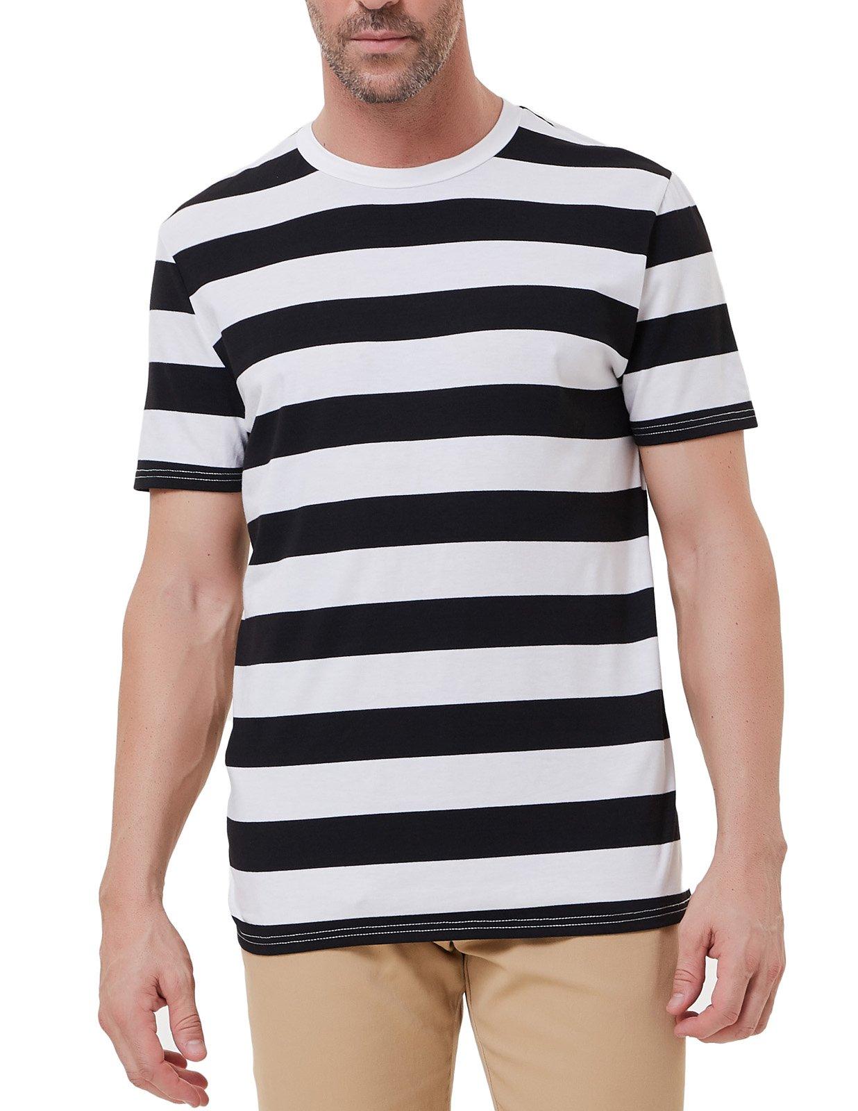 PAUL JONES Black & White Striped T-Shirt for Men Short Sleeve Casual Shirt by PAUL JONES