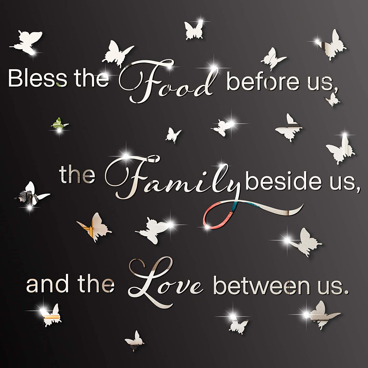 3D Acrylic Mirror Wall Decor Stickers Bless The Food Before Us The Family Beside Us and The Love Between Us Prayer Sticker Kitchen Dining Room Wall Stickers Removable Butterfly Mirror Stickers