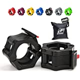 (Black) - RitFit 5.1cm Olympic Barbell Collars (Pair) - Solid Nylon Locking Clamps with Quick Release Secure Snap Latch - Great for CrossFit, OHP, Squats, Deadlifts, Cleans, Snatches