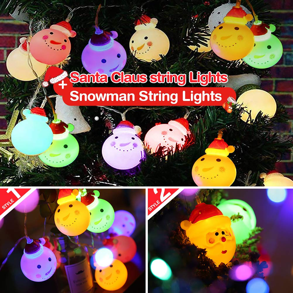 KYW Christmas String Lights Santa Claus String Lights Christmas Snowman String Lights 10 LED 4.9ft Battery Operated for Thanksgiving Garden Christmas Tree. Colorful