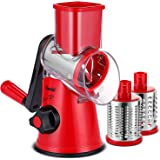 Geedel Rotary Cheese Grater, Kitchen Mandoline Vegetable Slicer with 3 Interchangeable Blades, Easy to Clean Rotary…