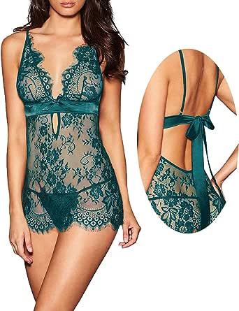 AnloveKiss Women Sexy Lingerie Black Eyelash Lace Chemise Babydoll Nightwear Set See-Through
