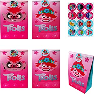 HONGFENG 12 Pack Party Gift Bags for Trolls Party Supplies, Candy Bags Goodie Bags Party Favor Bags Include Stickers for Children Birthday Party Supplies Decorations