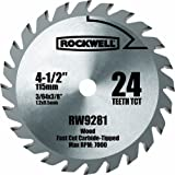 Rockwell RW9281 4 1/2-Inch 24T Carbide Tipped Compact Circular Saw Blade