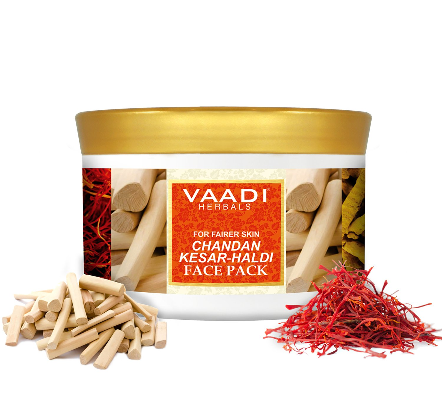 Vaadi Herbals Face Pack, Chandan Kesar and Haldi - Turmeric And Milk Cream For Face