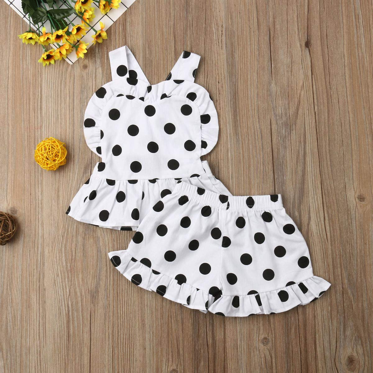 Baby Little Girl 2 Pieces Short Set Polka Dots Backless Heart Shape Tops Ruffle Short Pants Outfit