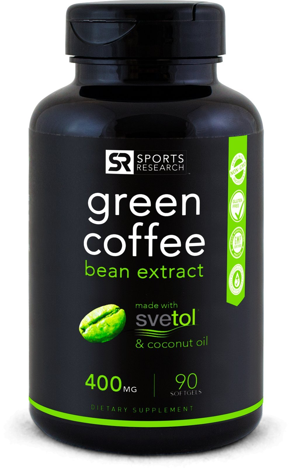 SVETOL Green Coffee Bean Extract, 90 Liquid Softgels with 400mg of Clinically-Proven Svetol Per Cap by Sports Research