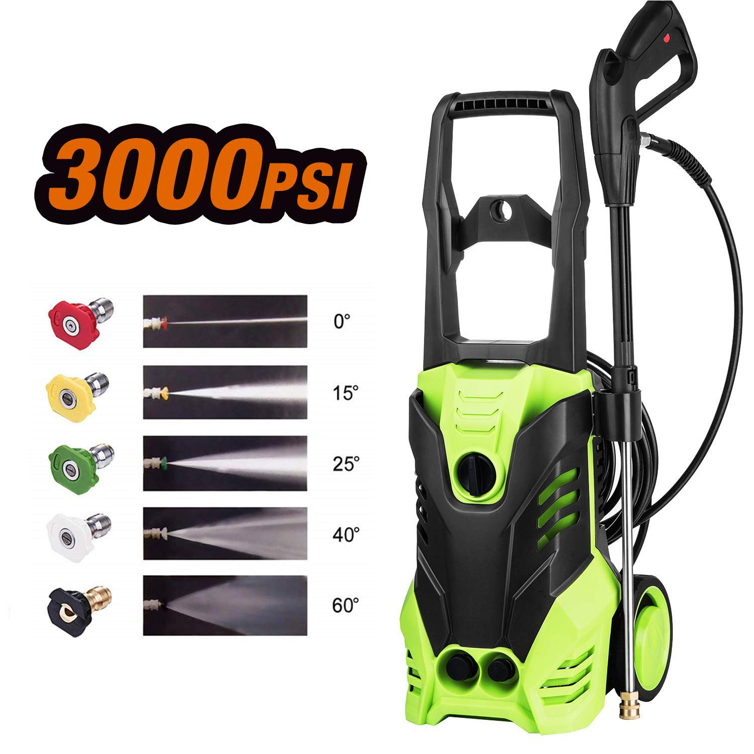 Homdox Electric Pressure Washer 3000 PSI, 14.5-Amp 1800W Power Washer Cleaner Machine with 5 Quick-Connect Spray Nozzles Green