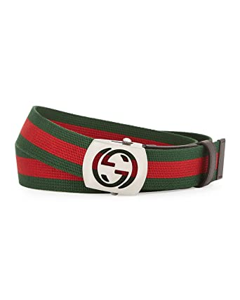 4de1f8cef Amazon.com: Gucci Signature Nylon Web with Interlocking G Plaque Buckle,  Green/red/green 387032 (32-34 US / 85 UK): Clothing