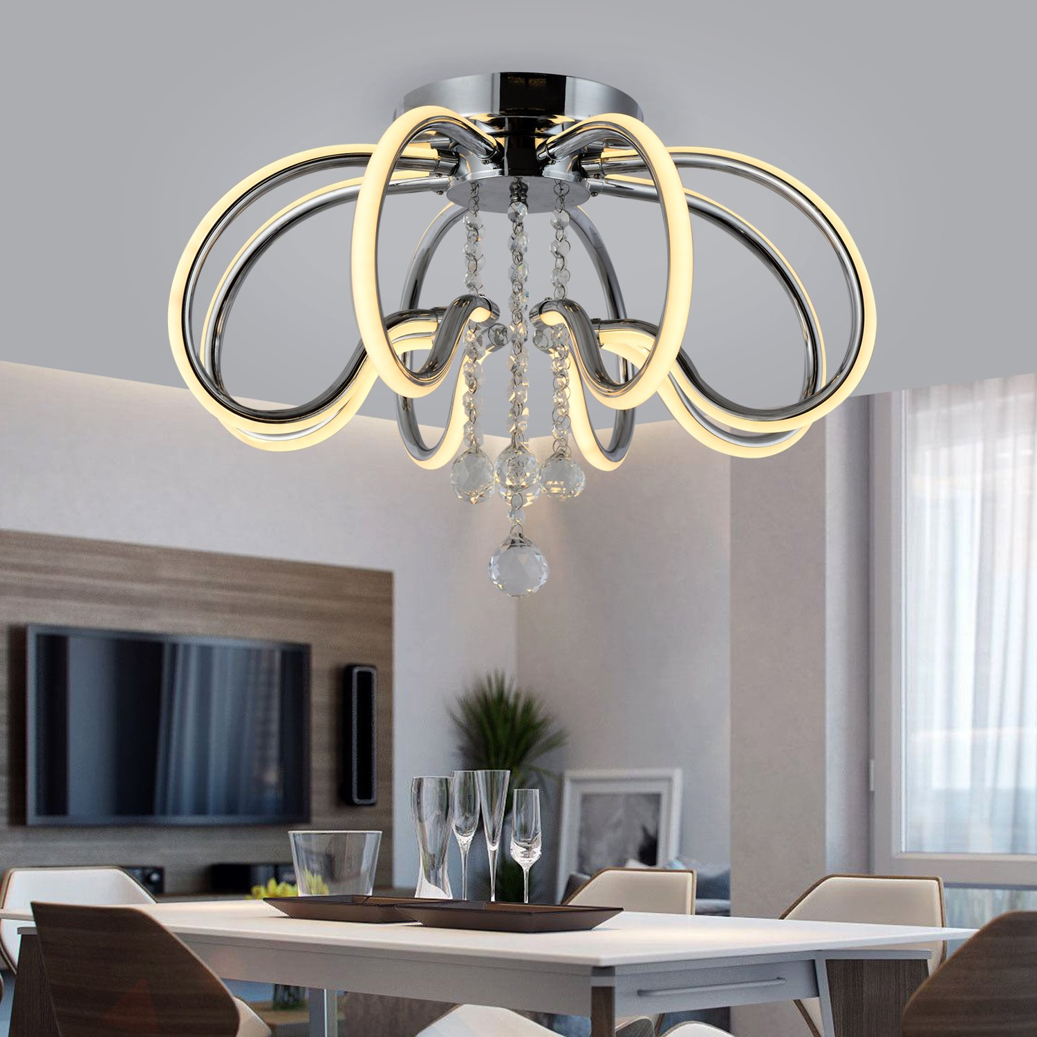 Chandelier Ceiling Light Ceiling Lamp Pendant Light Chandelier LED Dimmable Contemporary Metal Crystal Ceiling Lamp Pendant Light for Living Room,Bedroom ,Dining Room ,Children's Room Bulb Included