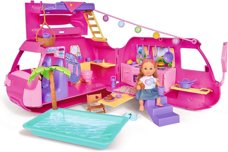 Simba Evi Love 105733275 – Caravana Plegable, con más de 40 Piezas, muñeca de 12 cm