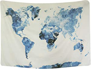 BLEUM CADE Blue Watercolor World Map Tapestry Abstract Splatter Painting Tapestry Wall Hanging Art for Living Room Bedroom Dorm Home Decor 82X59 Inches