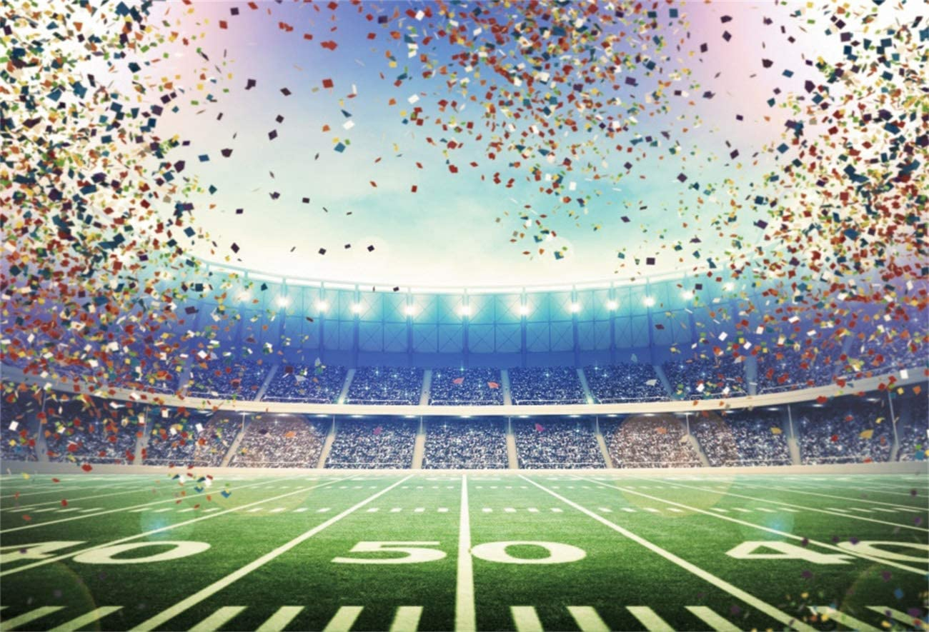 YEELE Stadium Confetti Backdrop 10x8ft American Football Match Photos Photography Background Super Bowl Sport Theme Party Rugby Match Court Team Game Pictures Photobooth Digital Wallpaper