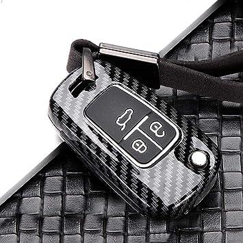 Ontto 3 Taste Autoschlüssel Hülle Cover Für Chevrolet Cruze Camaro Opel Adam Astra Insignia Corsa Cascada Schlüsselhülle Schlüsselanhänger Zinklegierung Schlüssel Etui Fernbedienung Kohlefaser Schwarz Auto