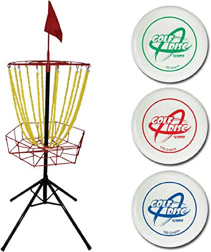 Triumph Disc Golf Toss Steel Portable Target and Three Weighted Golf Discs 160g, 170g, 180g