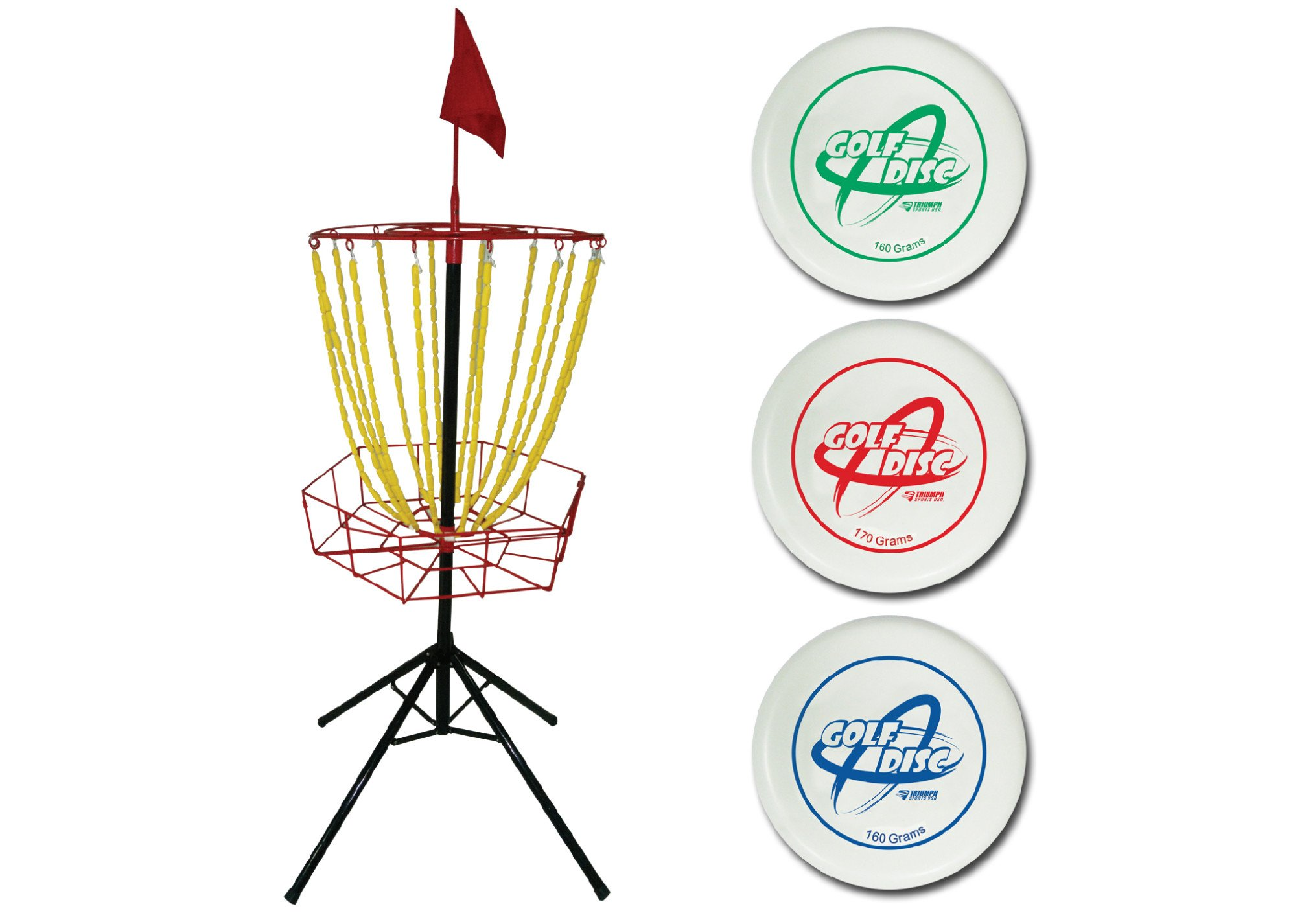Triumph Disc Golf Toss Steel Portable Target and Three Weighted Golf Discs (160g, 170g, 180g) by Triumph Sports