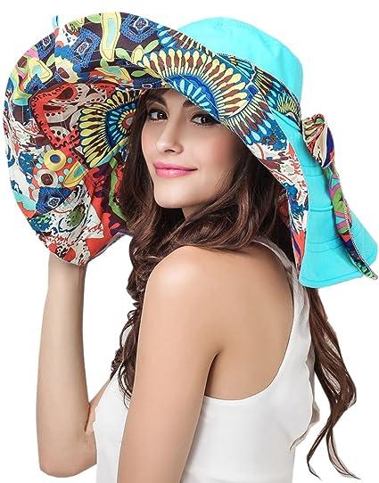 Amazon.com  Women s Foldable Floppy Reversible Travel Beach Sun ... b09d577c9f9