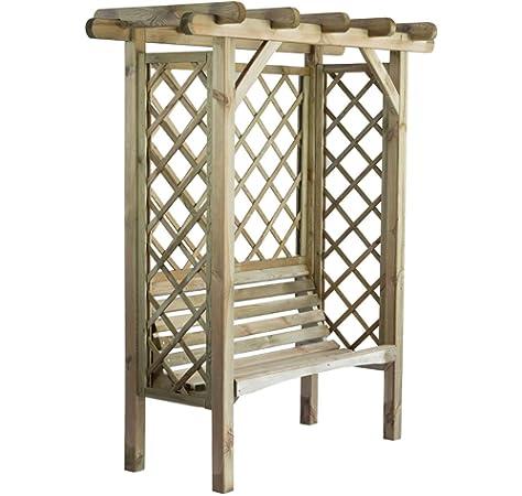 Cenador de madera con banco, lados enrejados y techo en forma de arco. Dimensiones: Altura 208 x 180 cm x 85 cm: Amazon.es: Jardín
